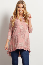 Pink Paisley Ruffle-Trim Maternity Top