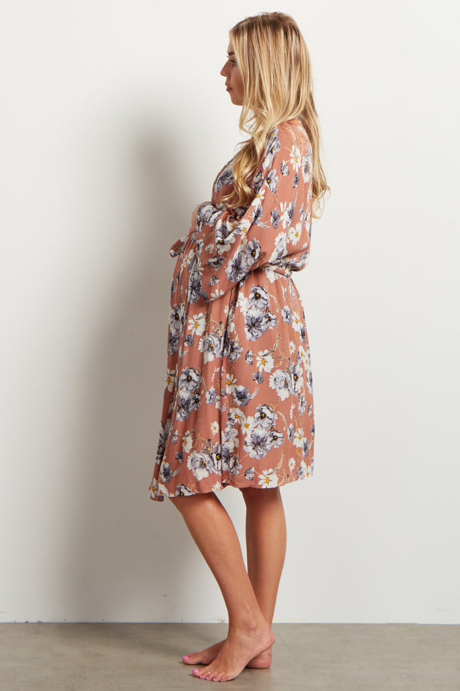 Dusty Pink White Garden Print Delivery/Nursing Maternity Robe