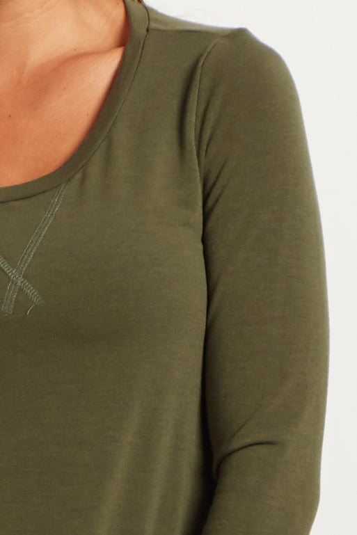 Olive Green Long Sleeve Top
