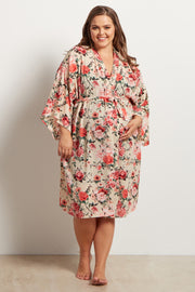 Off White Floral Delivery/Nursing Plus Size Maternity Robe