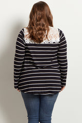 Black Striped Lace Neckline Plus Size Maternity Top