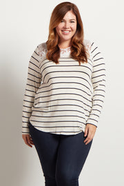 White Striped Lace Neckline Plus Size Top