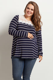 Navy Blue Striped Lace Neckline Plus Size Maternity Top