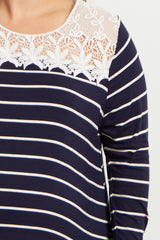 Navy Blue Striped Lace Neckline Plus Size Top