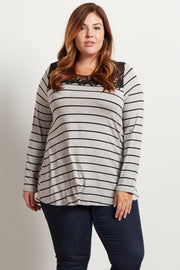 Grey Striped Lace Neckline Plus Size Top