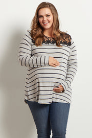 Grey Striped Lace Neckline Plus Size Maternity Top