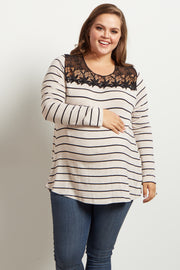Beige Striped Lace Neckline Plus Size Maternity Top