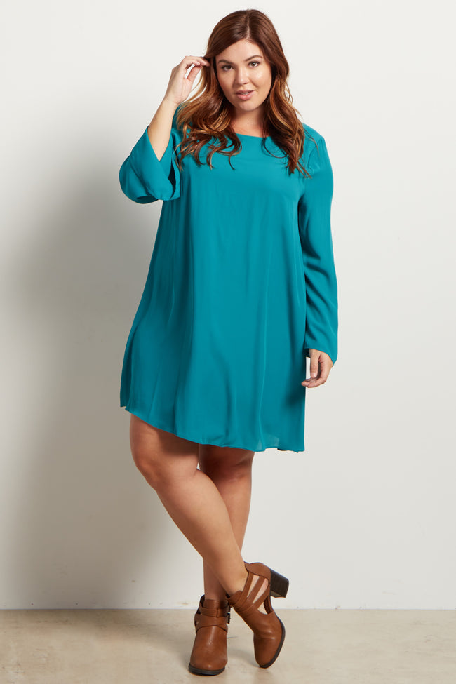 Jade Chiffon Bell Sleeve Plus Size Dress