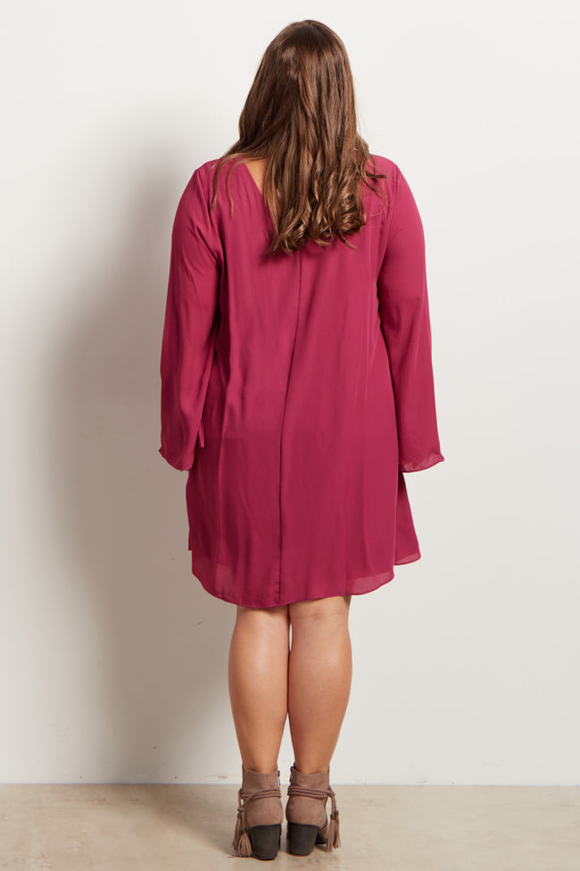 Magenta Chiffon Bell Sleeve Plus Size Maternity Dress