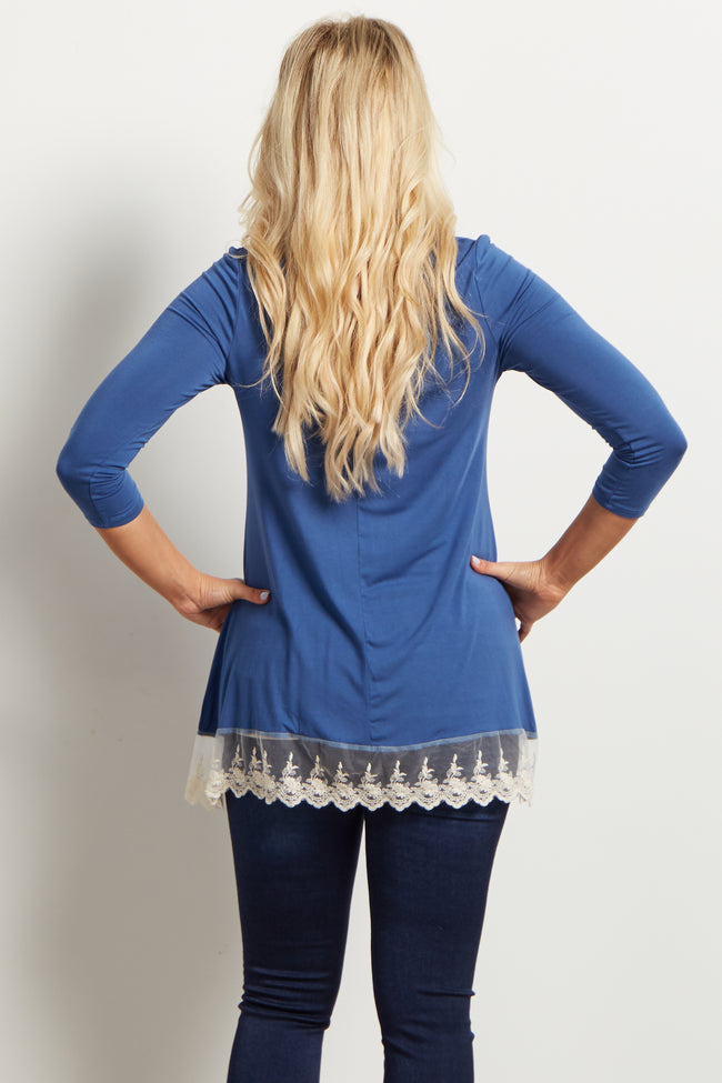 Royal Solid Lace Trim Maternity Top