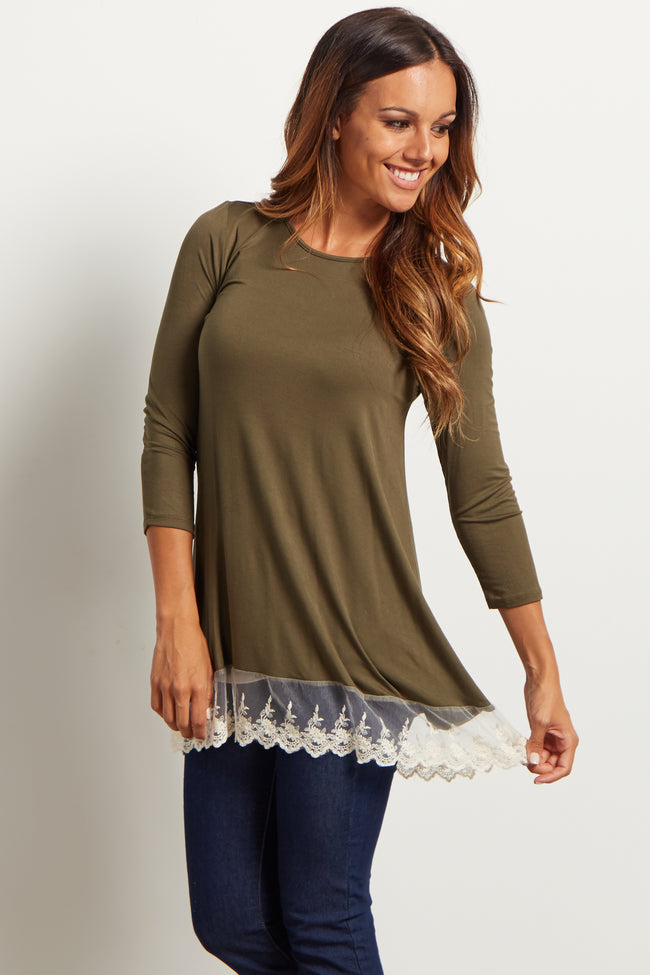 Olive Green Solid Lace Trim Maternity Top