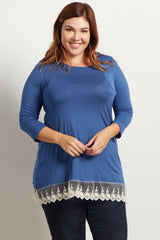 Blue Solid Lace Trim Plus Size Maternity Top