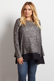 Grey Chiffon Accent Open Back Plus Size Maternity Top