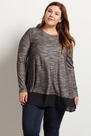 Grey Chiffon Accent Open Back Plus Size Top