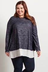Navy Chiffon Accent Open Back Plus Size Maternity Top
