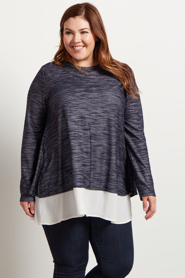 Navy Blue Chiffon Accent Open Back Plus Size Top