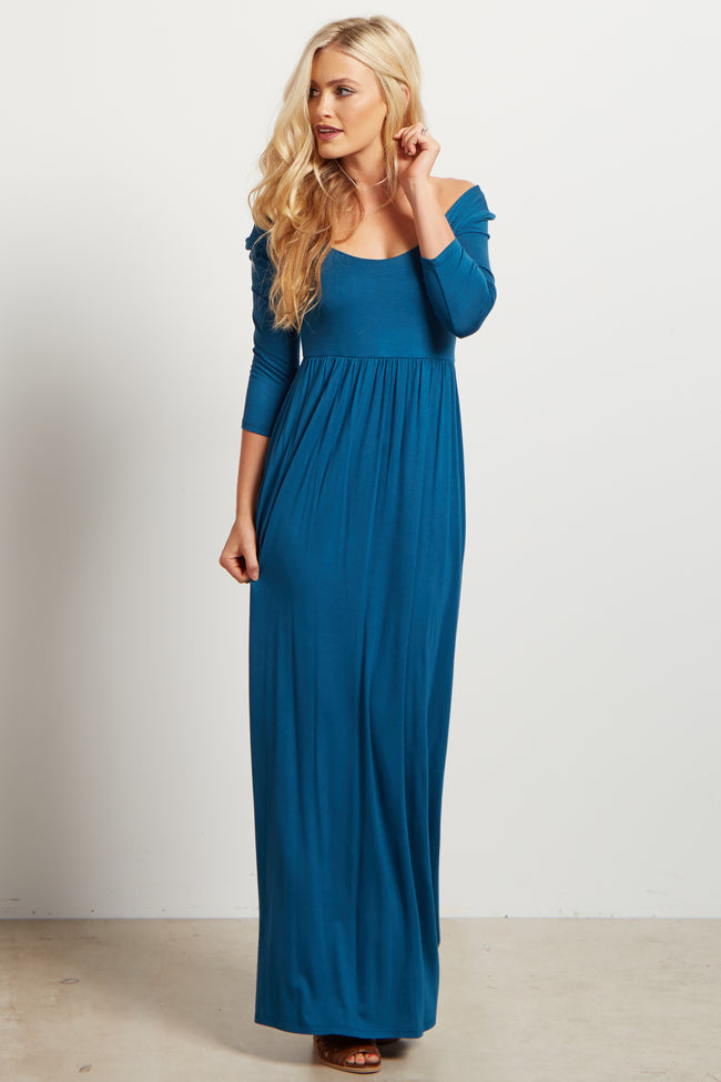 Teal Basic Solid Maxi Dress