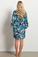 Blue Floral Delivery/Nursing Maternity Robe