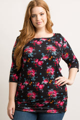 Black Floral 3/4 Sleeve Plus Maternity Top