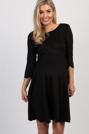 PinkBlush Black Solid Scalloped Hem Dress