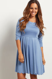 Blue Solid Scalloped Hem Dress