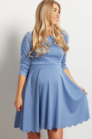 Blue Solid Scalloped Hem Maternity Dress