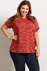 Rust Knit Short Sleeve Cuffed Maternity Plus Top