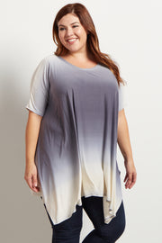 Blue Ombre Asymmetric Plus Size Top