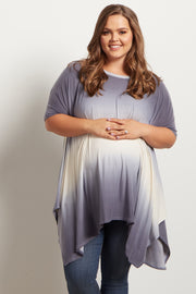 Blue Ombre Asymmetric Plus Size Maternity Top