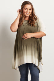 Olive Green Ombre Asymmetric Plus Size Maternity Top