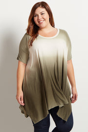 Olive Green Ombre Asymmetric Plus Size Top