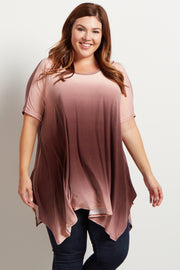 Burgundy Ombre Asymmetric Plus Size Top
