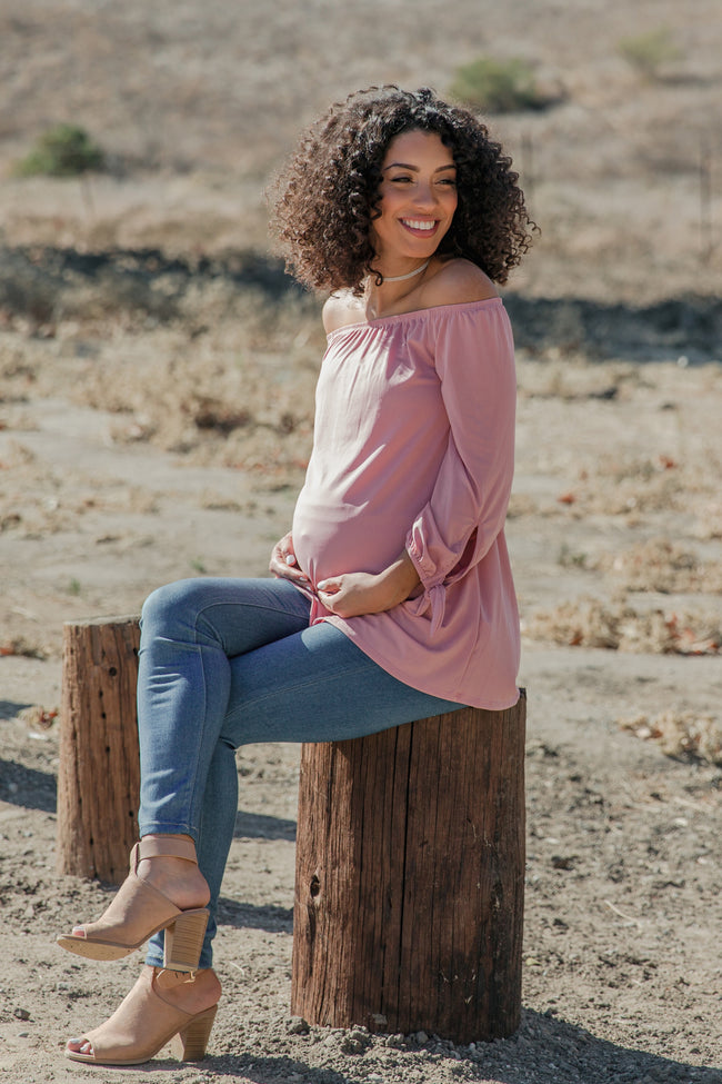 Mauve Solid Off Shoulder Tie Sleeve Maternity Top