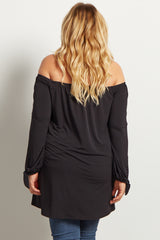 Black Off-The-Shoulder Sleeve Tie Maternity Plus Top