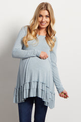 Blue Ruffled Trim Maternity Top