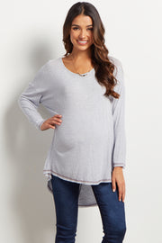 Blue Solid Long Sleeve Stitched Hemline Maternity Top