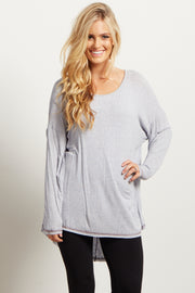Blue Solid Long Sleeve Dark Stitched Hemline Top