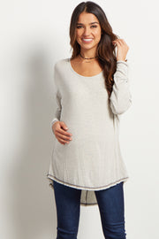 Grey Long Sleeve Stitched Hemline Maternity Top