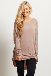 Taupe Long Sleeve Dark Stitched Hemline Top
