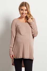 Taupe Long Sleeve Dark Stitched Hemline Maternity Top