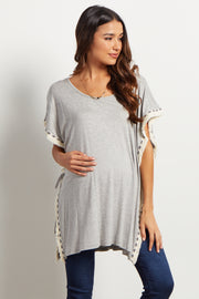 Grey Tribal Fringed Trim Poncho Maternity Top