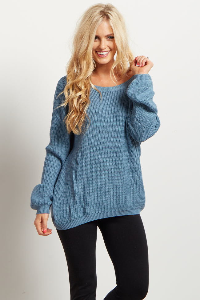 Blue Crisscross Back Accent Knit Maternity Sweater