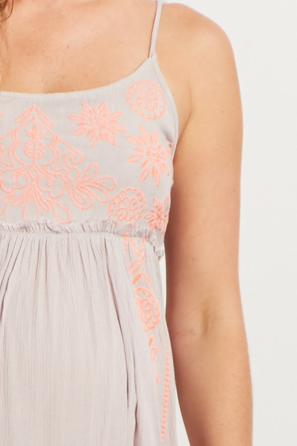 Taupe Neon Floral Stitched Accent Frayed Maternity Dress