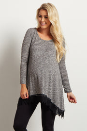 Grey Lace Trim Long Sleeve Maternity Top