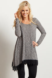 Grey Lace Trim Long Sleeve Top