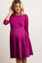 Magenta Solid Scalloped Hem Maternity Dress