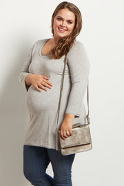Grey Button Back 3/4 Sleeve Plus Size Maternity Top