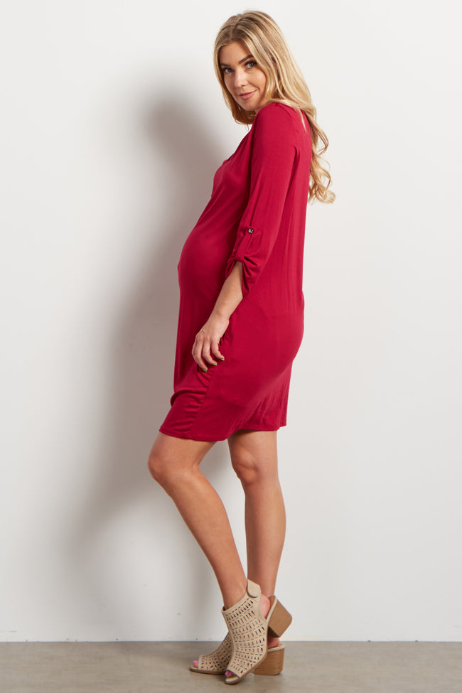Red Solid Fitted V-Neck Maternity Dress