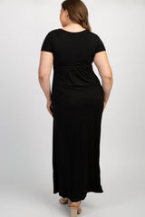 PinkBlush Black Draped Maternity/Nursing Plus Maxi Dress