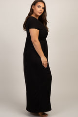 PinkBlush Black Draped Nursing Plus Maxi Dress